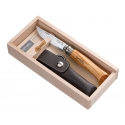 N°08 VRI zavírací nůž OPINEL Luxury olivová rukojeť, s pouzdrem v dřevěné kazetě