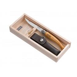 N°10 VRI zavírací nůž OPINEL Slim olivová rukojeť, s pouzdrem v dřevěné kazetě