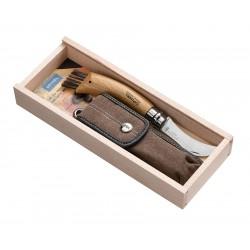 N°08 VRI zavírací nůž OPINEL houbařský se štětcem, s pouzdrem v dřevěné kazetě