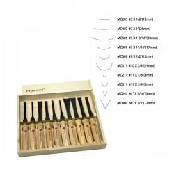 Sada 10 řezbářských dlát pro použití s paličkou MC100